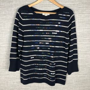 Coldwater Creek Sequinned Striped Sweater